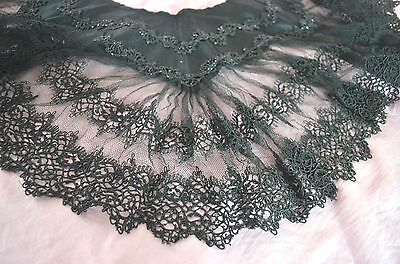 Fabulous Vintage Antique Lace And Beaded Flounce Collar On Silk Satin Ss398