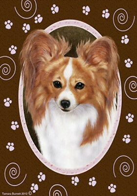 Large Indoor/Outdoor Paws Flag - Red & White Papillon 17064