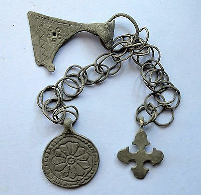 Medievil Viking Period Cross, Ax & Medalion with drawing Pendant lot