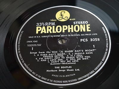 """The Beatles - A Hard Day's Night - Original Parlophone Stereo - """"Chubby Font"""""""