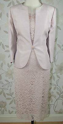 BNWT Jacques Vert Mother of Bride Champagne Natural Lace Dress & Jacket Size 18