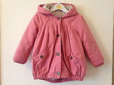 Next Girls Hooded Jacket/Coat Size 2-3 Years Pink Button Fastening