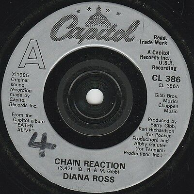 """Diana Ross Chain Reaction (15438) 7"""" Single 1985 Capitol Records CL 386"""