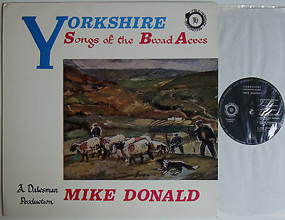 """Mike Donald Yorkshire Songs Of The Broad Acres (6638) 12"""" LP 1971 Folk Heritage"""