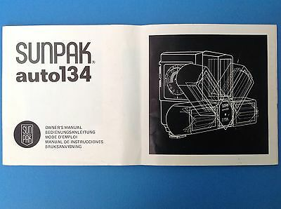 Vintage Sunpak Auto 134 Electronic Flash Gun Owner's Manual- Camera Accessories