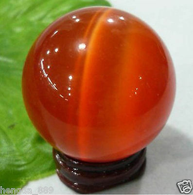 40MM + FREE STAND ASIAN QUARTZ red CAT EYE CRYSTAL BALL SPHERE