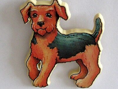 Quirky Fun  Fox Terrier Light Fiberboard Squeeze & Clasp Pin Fastening