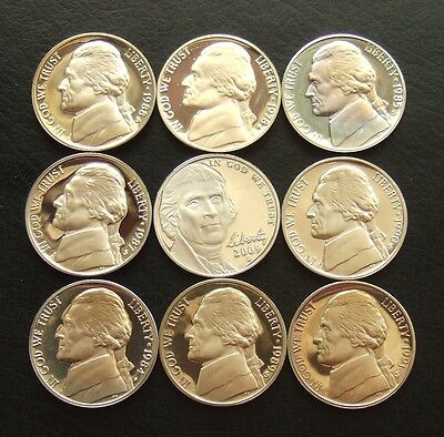 Usa Jefferson Nickel : Lot Of 9 Proof Coins Dated 1978-2009 : San Francisco Mint