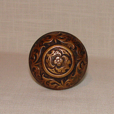 Single Brass Eastlake Door Knob Victorian Hardware Antique Ornate Floral Design