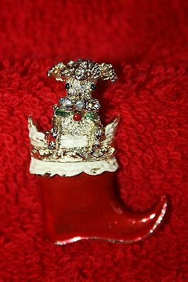 Vtg Gerrys Poodle Dog Christmas Pin Sitting in Santas Boot