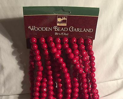 18 Foot Lengths Red Cranberry Wood Wooden Bead Tree Garlands