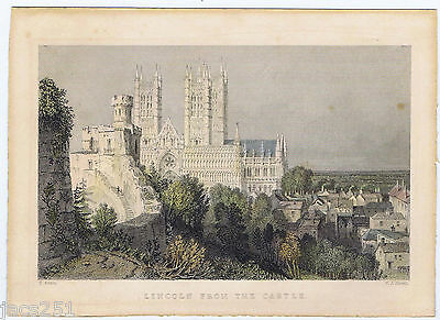 Antique Engraving Lincoln From The Castle