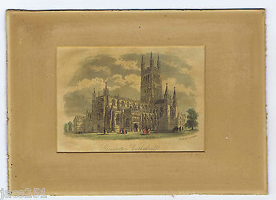 Antique Hand Coloured Steel Engraving Print Gloucester Cathedral c1860