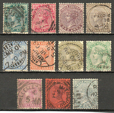 India 1882-87 Qv Victoria Definitives Complete To 1R Sc #36-46 Used