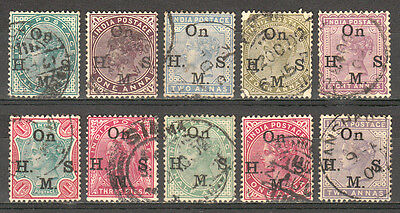 India 1883-1900 Qv Victoria Official Complete To 1R Sc #o27-O36 Used