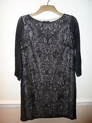 Wallis black & nude shift style stretchy lace party/cocktail dress size 12