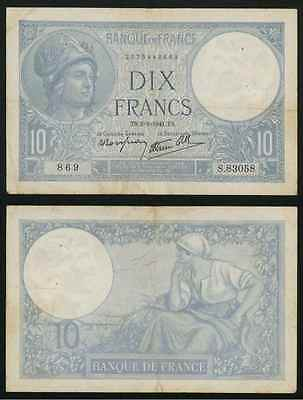 Scarce Currency 2-1-1941 France 10 Francs Banknote P84 Blue Minerva Very Fine