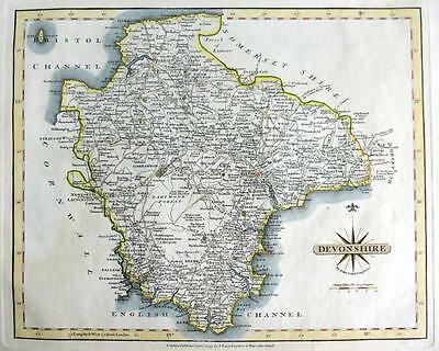 DEVONSHIRE  DEVON  EXETER PLYMOUTH   BY JOHN CARY GENUINE ANTIQUE MAP  c1793