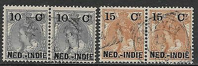 Netherlands Indies stamps 1900 NVPH 31f+33f both pairs  CANC  VF