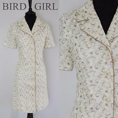 Embroidered Flowers 1960S Vintage Cream Mod Scooter Shift  Shirt Dress 12