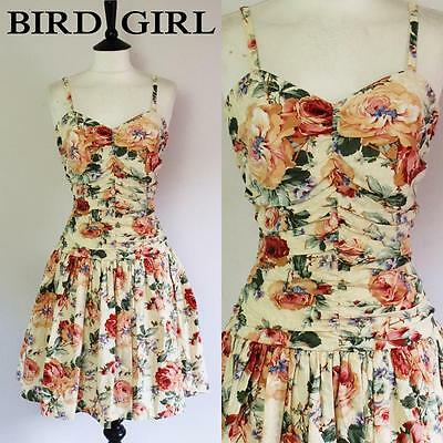 Cabbage Rose Print 1980S Vintage Cream Ruched Boned Swing Sun Dress 10 S