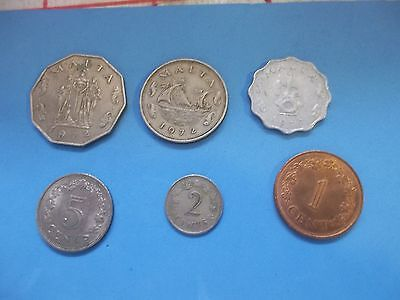 6 Nice Coins From Malta All Dated 1972 [#02]  50/10/5/2/1/ Cents