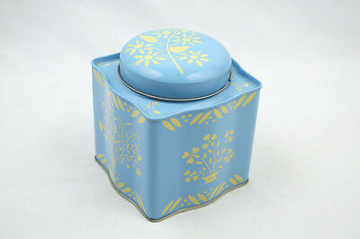 Toscany Collection Lidded Blue Tin Pale Yellow Design