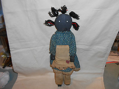 Vintage Primitive Black Americana Hand Made Wood Doll with Clothes Jointed