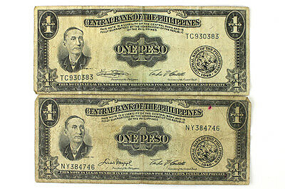 Two 1 Peso Banknotes From The Central Bank Of The Philippines Dated 1949