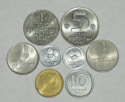 8 Coins from Israel / 5 & 10 Agorot / 1/2 & 1 Lira / 5 Lirot