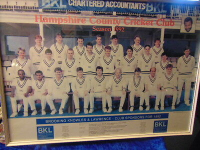 Hampshire County Cricket Club 1992 Picture Sponsored by BKL Chartered Accountant