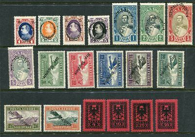 ALBANIA 1922-28 AIR POSTAGE DUE etc MH lot to 5F 19 Stamps