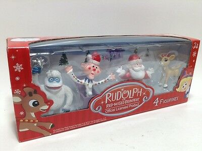 Rudolph the Red-Nosed Reindeer Official Licensed 4 Figurines NEW w FREE SHIPPING