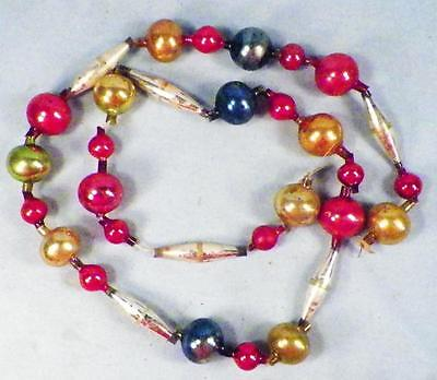 Christmas Tree Chain of Beads Mercury Glass Red Blue Gold Antique 36in. #163
