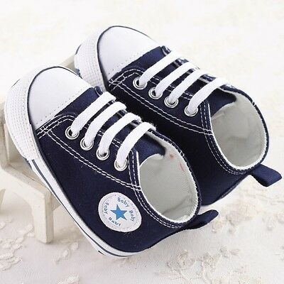 UK Infant Toddler Baby Boy Girl Soft Sole Pram Shoes Trainers Newborn to 18 M