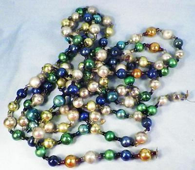 Christmas Tree Chain of Beads Mercury Glass Blue Green Gold Antique 154in. #161