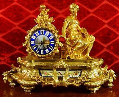 Superb antique French Japy Fils 19th c gilt ormolu bronze & Sevres mantle clock