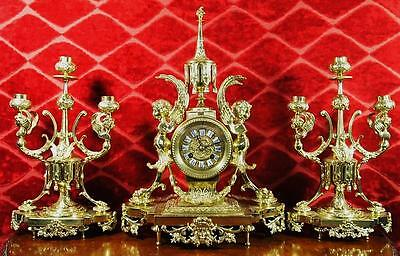 Rare antique 19th c French solid gilt brass 3 piece mantle clock garniture set