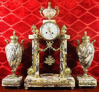 Antique XL 1855 French brass & Marble portico Mantle Clock Set by Vincenti
