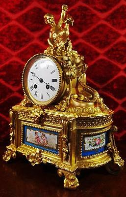 Spectacular fine antique French 19th c gilt ormolu bronze & Sevres mantle clock