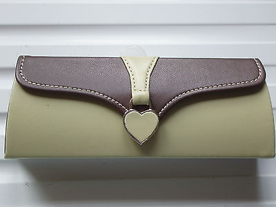 Stunning Lime Green/Chocolate Heart Tag Glasses Case - NEW