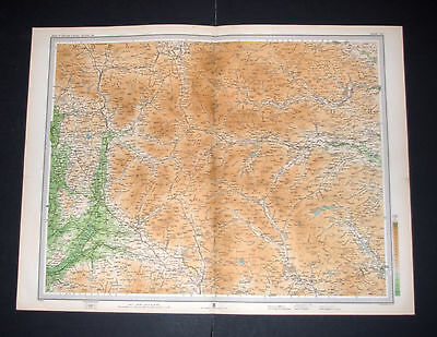Antique WHENSIDE & PENYGHENT Yorkshire Dales, Survey Map 19 by Bartholomew 1903