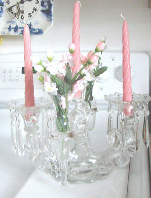 ELEGANT ART DECO Crystal Glass Candelabra Bobeches - Prisms Interchangeable MM1