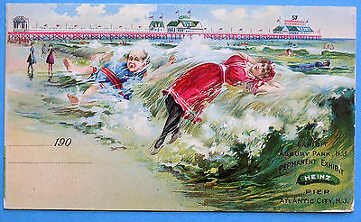 C1900 Heinz 57 Pier Permanent Exhibit Atlantic City, New Jersey ~ Post Card Ad.