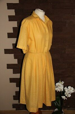vintage 80s lovely short sleeve yellow buttons front dress size 14