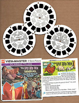 View-Master Classic Tales Little Red Hen, Thumbelinal Pied Pipper of Hamelin set