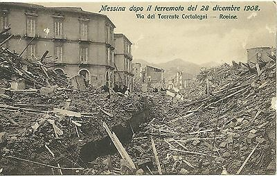 Cartolina 1908 Messina Terremoto Via Del Torrente Cortalegni