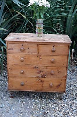 Antique Victorian Pine Chest Of Drawers Bun Feet Farmhouse 5 Drawers Rustic Chic