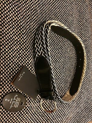 Paul Smith Men's Woven Black And White Belt 38 Inches