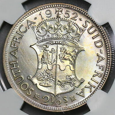 1952 NGC PF 66 SOUTH AFRICA BU PROOF Silver 2 1/2 Shillings Coin (16090403C)